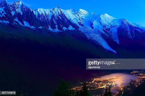 chamonix mont blanc illuminated at night, french alps - chamonix stock pictures, royalty-free photos & images