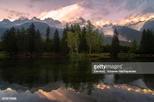 Chamonix Mont Blanc in the beautiful sunset sky