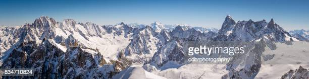 chamonix mont blanc panorama - european alps stock photos and pictures