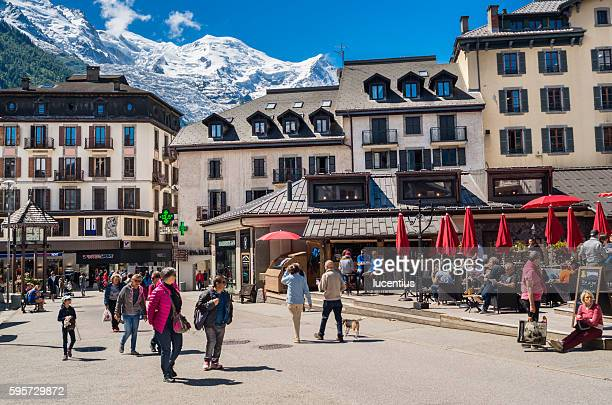 Chamonix town with Mont Blanc mountain