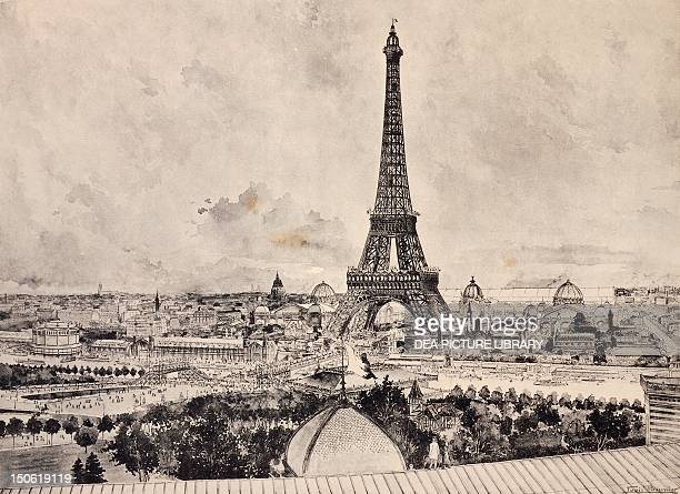 Champ de Mars viewed from the Trocadero during the Paris World Exposition print France 19th century