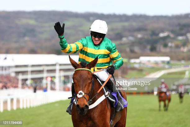 Champ ridden by Barry Geraghty celebrates winning the RSA Insurance Novices' Chase at Cheltenham Racecourse on March 11, 2020 in Cheltenham, England.