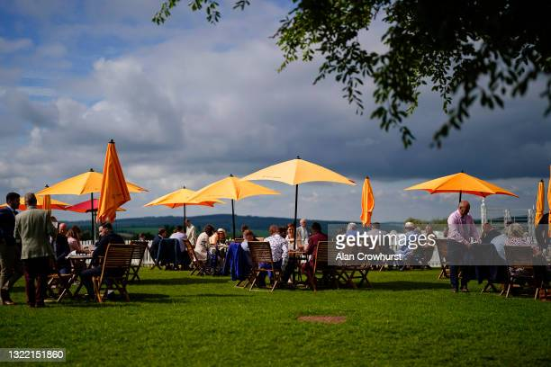 Champafne lawn at Goodwood Racecourse on June 06, 2021 in Chichester, England. Due to the Coronavirus pandemic, only owners along with a limited...