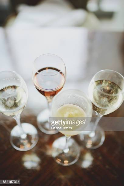 Champage, bellini and rose wine in flutes