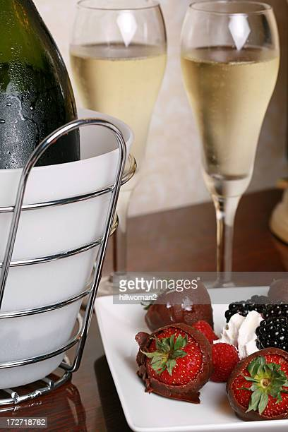 champagne and berries - chocolate dipped stock pictures, royalty-free photos & images
