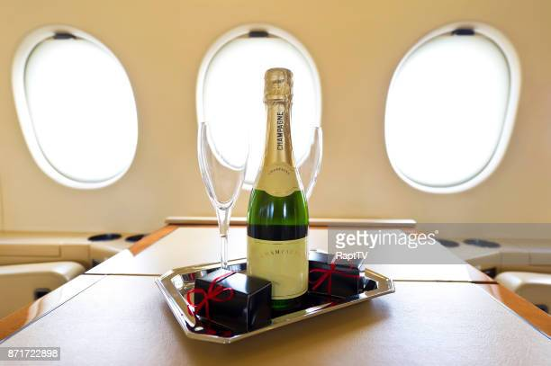 Champagne and chocolates onboard a Luxury Private Airplane.