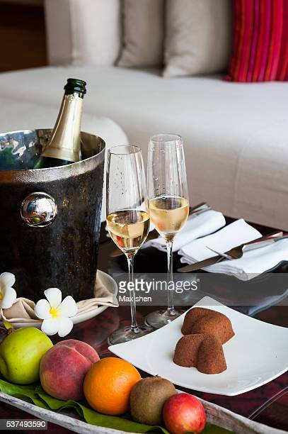 champagne and sweets served in guest room