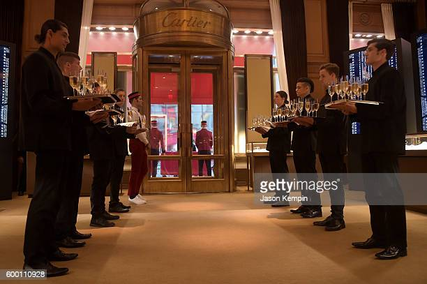 Champagne being served at the Cartier Fifth Avenue Grand Reopening Event at the Cartier Mansion on September 7 2016 in New York City