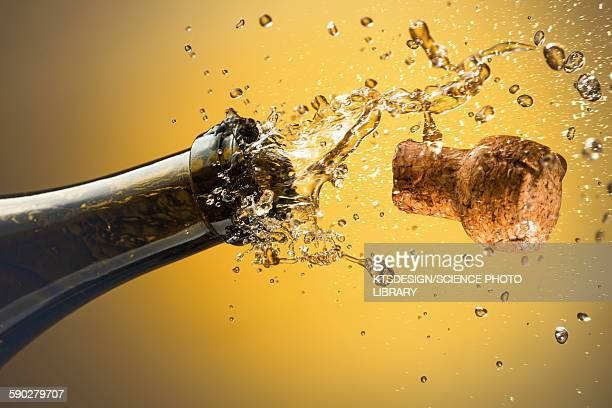champagne bottle and cork - champagne stock pictures, royalty-free photos & images