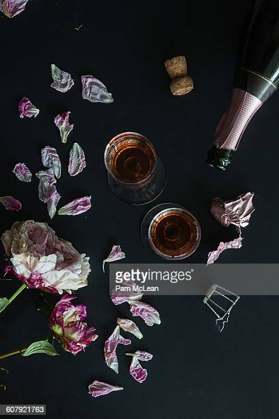 Champagne, Bottle and Flowers