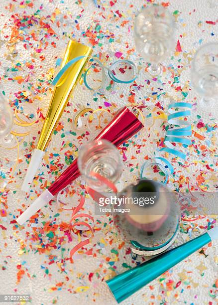 Champagne bottle and party supplies
