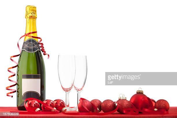 Champagne bottle, Christmas ornaments & glasses