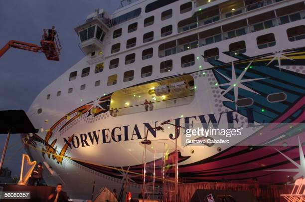 A champagne bottle is smashed against the Norwegian Jewel cruise ship at the christening of the Norwegian Jewel at the Port of Miami on November 3...