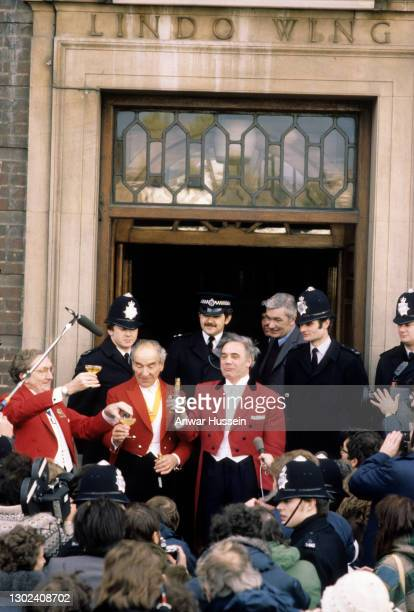 Champagne celebrations outside the Lindo Wing of St. Mary's hospital on the birth of Prince William Arthur Philip Louis on June 21, 1982. In London,...