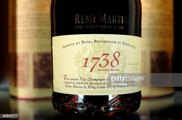 Champagne cognac sits on display at the Remy Martin distillery in Cognac France on Tuesday April 14 2009 Remy Cointreau SA France's second largest...