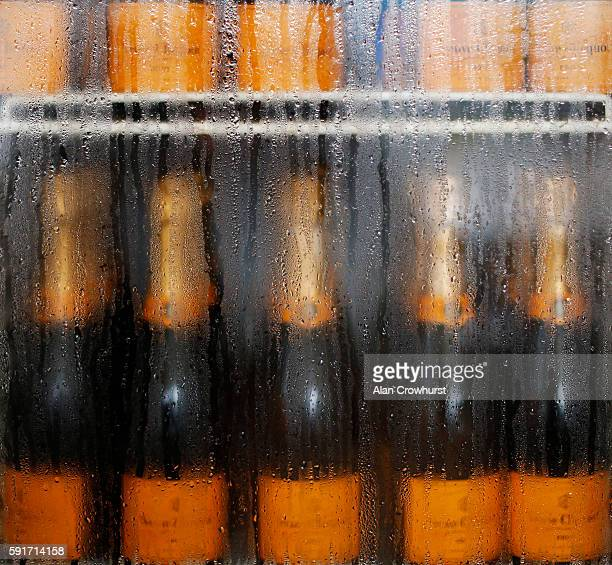 Champagne cools in the fridge as the champagne garden prepares for Ladies Day at York racecourse on August 18 2016 in York England