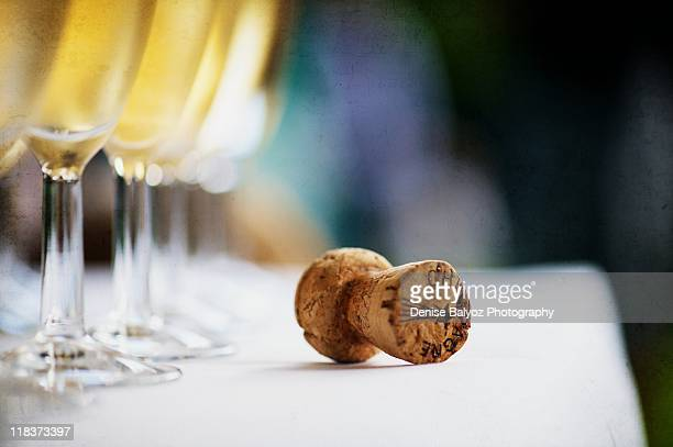 champagne cork and glasses - cork material stock photos and pictures
