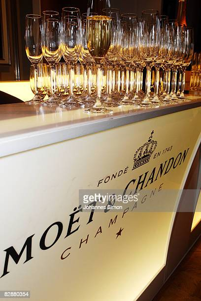 Champagne cups are seen during a 'Fabulous Celebration' at Nymphenburg Castle on September 18 2008 in Munich Germany French champagne producer Moet...