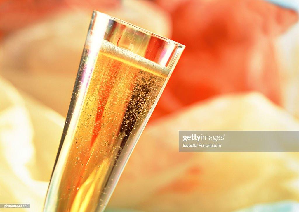 Champagne flute full of sparkling drink, tilted, close-up : Stockfoto