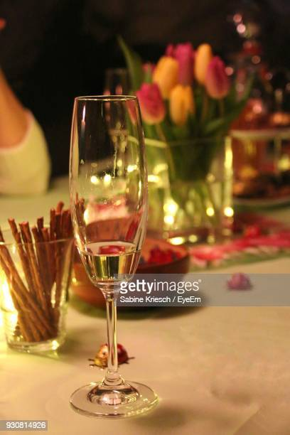 Champagne Flute On Table At Restaurant