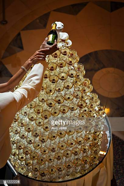 Champagne fountain or tree at formal celebration.