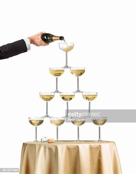 Champagne fountain pyramid
