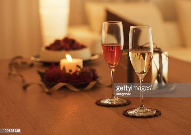 Champagne glass and candle