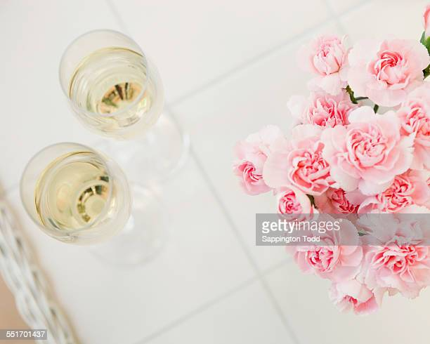 Champagne Glasses And Roses