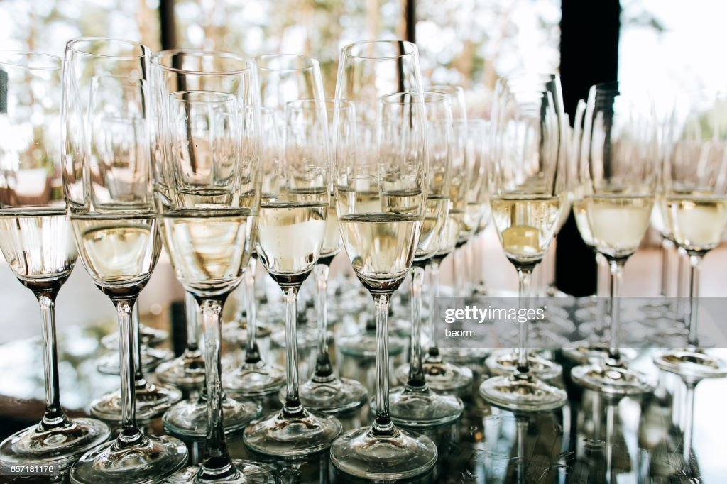Champagne Glasses Closeup Wedding Reception Alcohol Drink Table