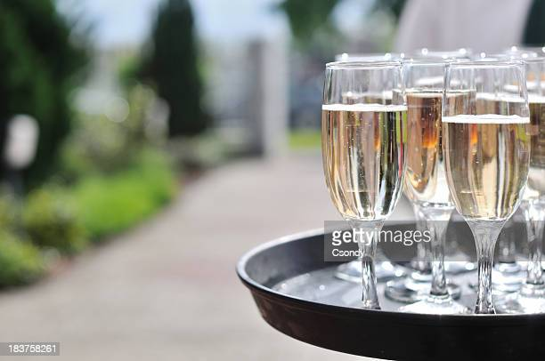Champagne glasses on a tray