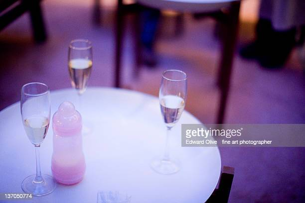 Champagne glasses on table
