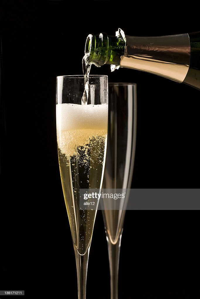 Champagne in black : Stock Photo