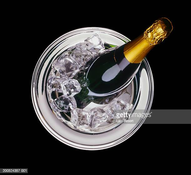 Champagne in ice bucket, overhead view