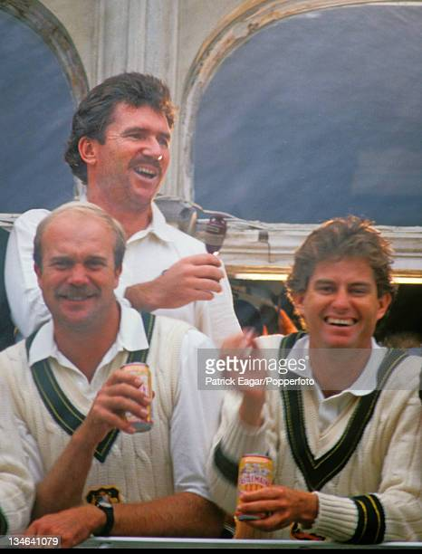 Champagne in the air - Allan Border Carl Rackeman and Terry Alderman , England v Australia, 6th Test, The Oval, Aug 89.