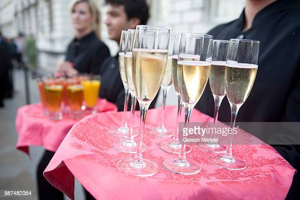 Champagne is served during the party held on the river terrace of Somerset House prior to the world premiere of the new film starring Bollywood...