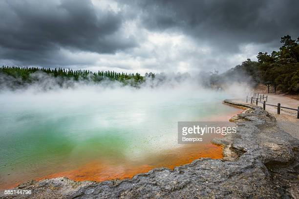 Champagne Pool in Wai O Tapu thermal reserve at Rotorua, New Zealand.