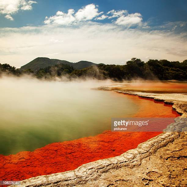 champagne pool landscape - rotorua stock pictures, royalty-free photos & images