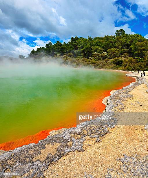champagne pool, rotorua, new zealand - new zealand volcano stock photos and pictures