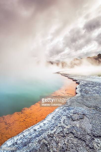 champagne pool, rotorua thermal reserve - rotorua stock pictures, royalty-free photos & images