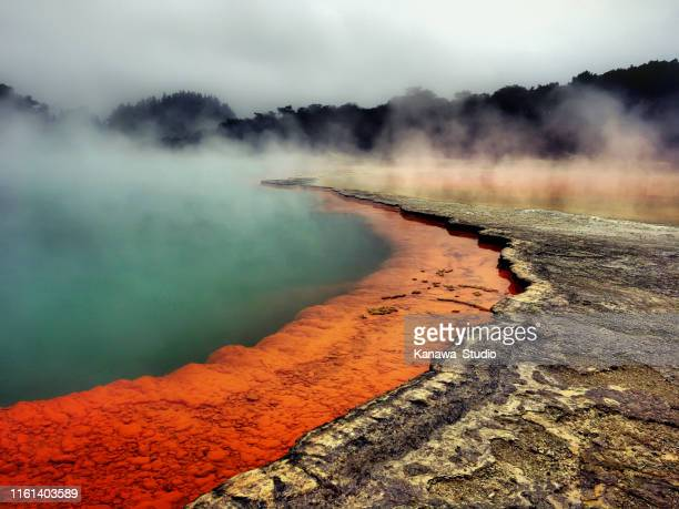 champagne pool waiotapu - hot spring stock pictures, royalty-free photos & images