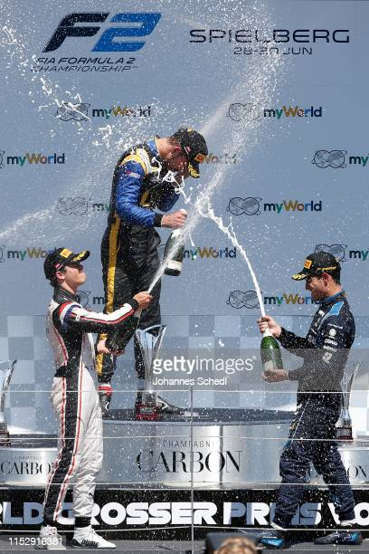 Champagne shower on the podium of the Formula 2 race with winner Sergio Sette Camara of Brazil / DAMS, 2nd Luca Ghiotto of Italy / UNI-Virtuosi and...