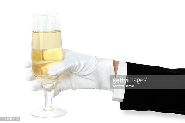 champagne silver service - long sleeved stock pictures, royalty-free photos & images