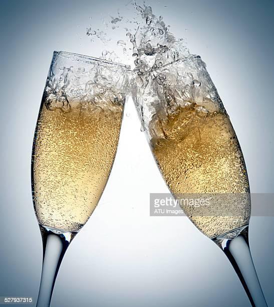 Champagne toasting splashing