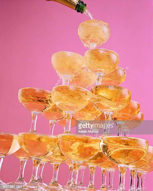 Champagne tower, close-up