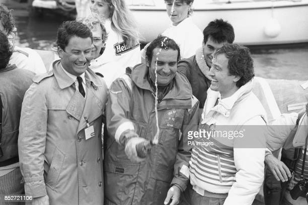 A champagne welcome for skipper Pierre Fehlmann and the crew of UBS Switzerland when they sailed into Gosport Marina in Portsmouth to win the...