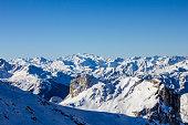 view mountains above champagnyenvanoise