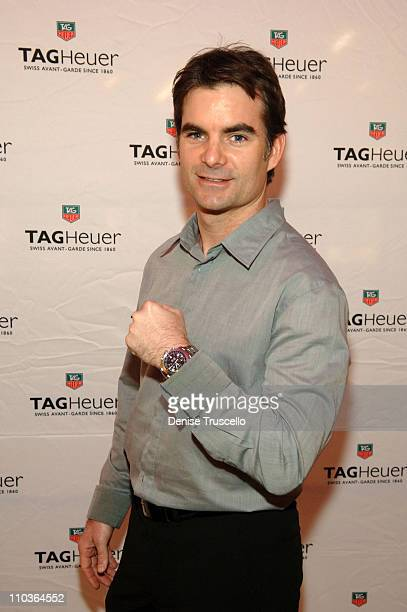 Champion and TAG Heuer brand ambassador Jeff Gordon arrives at the installation of his Car of Tomorrow at the Tourneau Time Dome at The Forum Shops...