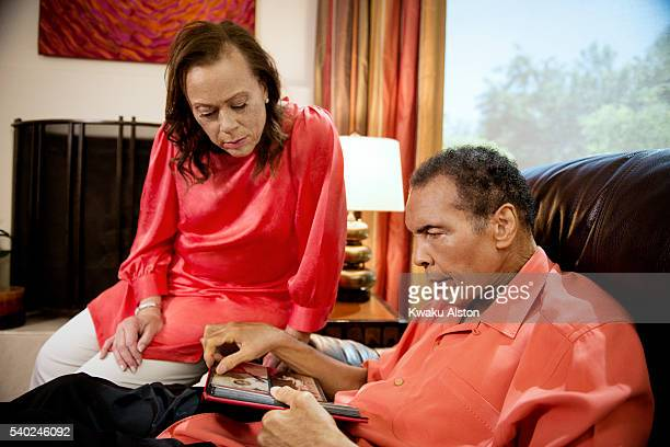 Champion boxer Muhammad Ali is photographed with his wife Lonnie Ali for AARP Magazine on June 1 2014 in Phoenix Arizona
