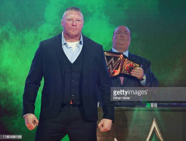 Champion Brock Lesnar attends a WWE news conference with his advocate Paul Heyman at T-Mobile Arena on October 11, 2019 in Las Vegas, Nevada. Lesnar...