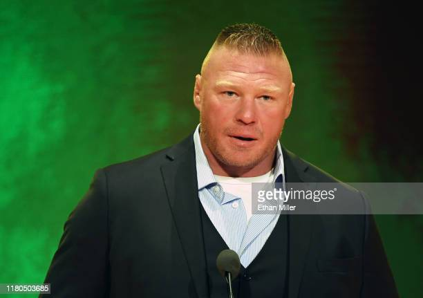 Champion Brock Lesnar speaks during a WWE news conference at T-Mobile Arena on October 11, 2019 in Las Vegas, Nevada. Lesnar will face former UFC...